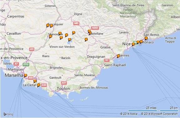 Cidades visitadas no sul da França
